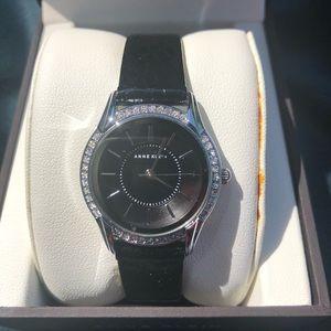 Anne Klein — NWT silver & black leather watch